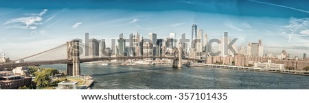 Brooklyn Bridge in New York. Panoramic view. - stock photo
