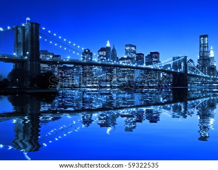 Brooklyn Bridge in New York with a blue hue - stock photo