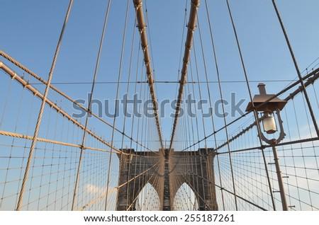 Brooklyn Bridge in the winter, New York City, USA. - stock photo