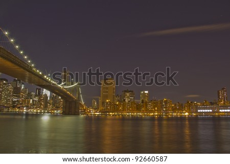 Brooklyn Bridge, Lower Manhattan at dusk, New York City