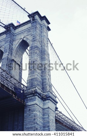 Brooklyn Bridge, Manhattan New York. Architecture, travel and urban living concept - stock photo