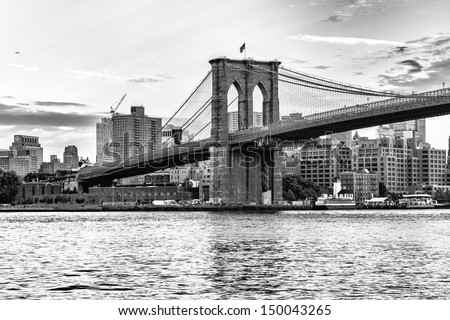 Brooklyn bridge, New York City. - stock photo