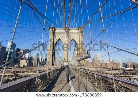 Brooklyn bridge,New York City - stock photo