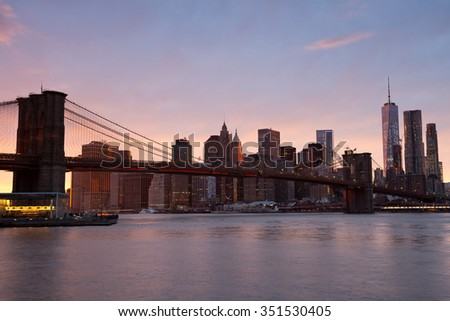 Brooklyn bridge , New York City - stock photo