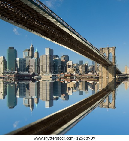 brooklyn bridge, new york, usa - stock photo