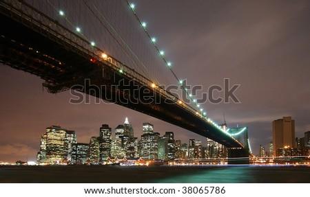 Brooklyn bridge night cityscape - stock photo
