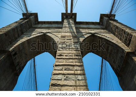 Brooklyn bridge of New York city - stock photo