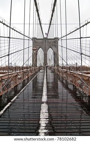 Brooklyn Bridge on a rainy day