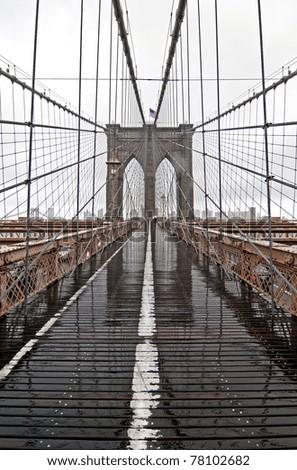 Brooklyn Bridge on a rainy day - stock photo