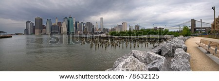 Brooklyn Bridge Park Panorama looking across the East River - stock photo