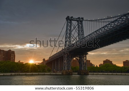 Brooklyn bridge, sunset, Manhattan, New York, Usa - stock photo