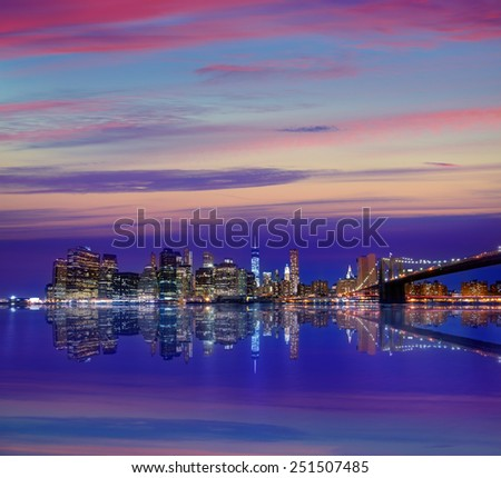 Brooklyn Bridge sunset New York Manhattan NY NYC USA - stock photo