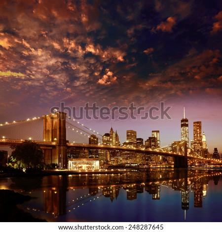 Brooklyn Bridge sunset New York Manhattan skyline NY NYC USA - stock photo