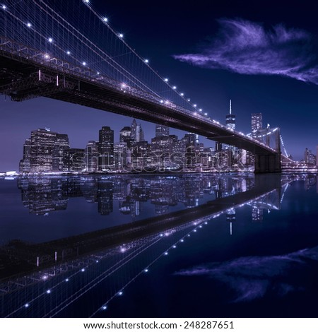 Brooklyn Bridge sunset New York Manhattan skyline NY NYC USA - stock photo
