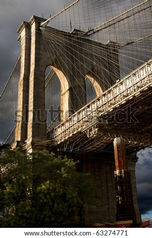 Brooklyn Bridge Tower with Storm Clouds
