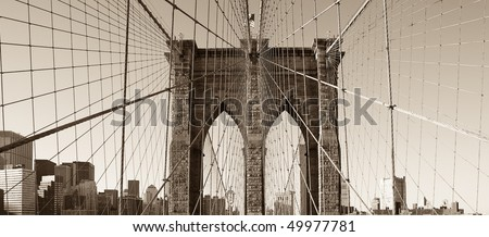 Brooklyn Bridge, vintage monochrome
