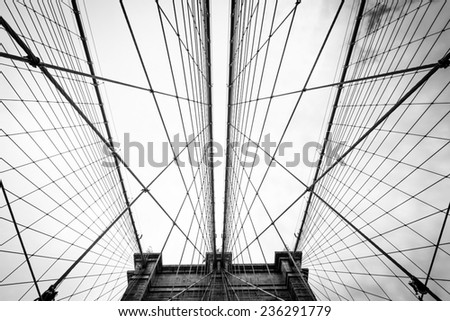 Brooklyn Bridge wires in criss cross web - stock photo