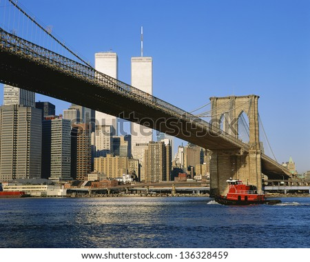 Brooklyn Bridge with Manhattan in the background, NYC - stock photo