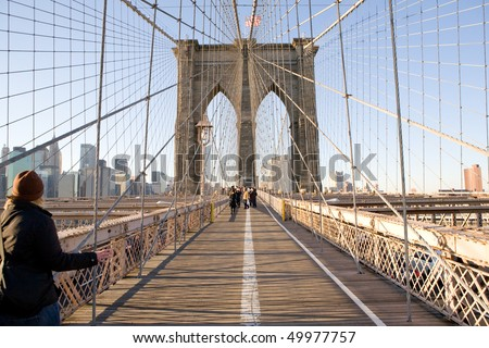 Brooklyn Bridge with pedestrians