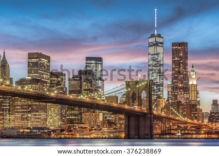 Brooklyn Bridge with sunset, New York City, USA - stock photo