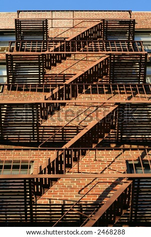 Brooklyn Classic Red Brick Building Fire Escape Stairs