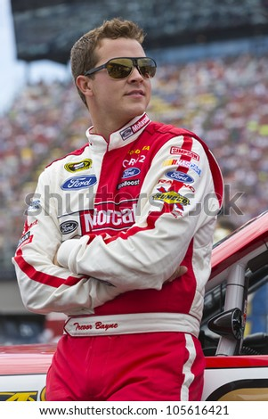 BROOKLYN, MI - JUN 17, 2012:  Trevor Bayne (21) races in the Quicken Loans 400 at the Michigan International Speedway in Brooklyn, MI on June 17, 2012.
