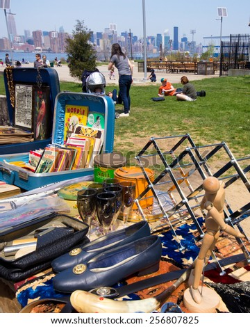 BROOKLYN, NEW YORK - APRIL 28, 2013:  View at Williamsburg Brooklyn Flea market held on Sundays at East River State Park.  - stock photo