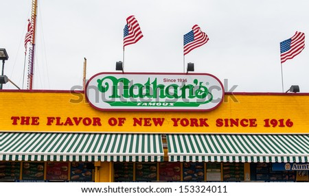 BROOKLYN, NEW YORK - AUGUST 23 : The Nathan s original restaurant on August 23, 2013 at Coney Island, New York. The original Nathan's still exists on the same site that it did in 1916.