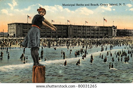 BROOKLYN, NEW YORK - CIRCA 1912: Vintage postcard depicting The Municipal Baths and Beach on Coney Island, Brooklyn, New York, USA, circa 1912. - stock photo