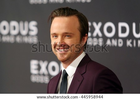 Brooklyn, New York; December 7th, 2014; Aaron Paul arrives to the premiere of Exodus: Gods and Kings at the Brooklyn Museum.