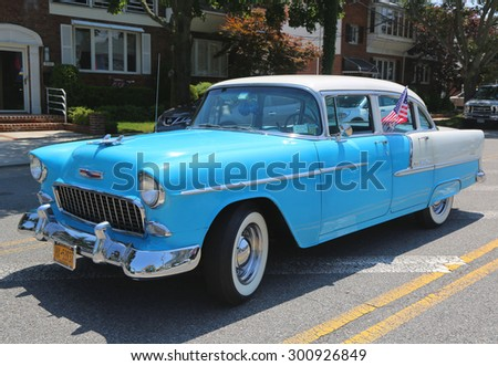 BROOKLYN, NEW YORK - JULY 19, 2015 : 1955 Chevrolet on display at the Mill Basin car show in Brooklyn, New York .  - stock photo