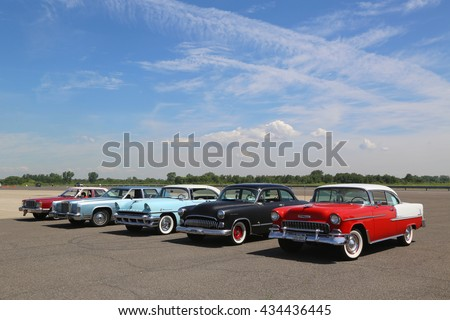 BROOKLYN, NEW YORK - JUNE 8, 2014: Historical American made cars on display at the Antique Automobile Association of Brooklyn annual Spring Car Show in Brooklyn, New York  - stock photo