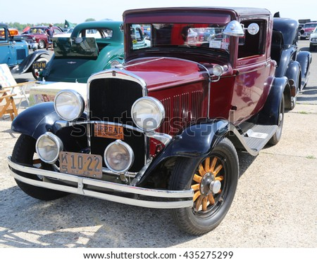 BROOKLYN, NEW YORK - JUNE 8, 2014: Historical 1929 Chrysler on display at the Antique Automobile Association of Brooklyn annual Spring Car Show in Brooklyn, New York  - stock photo