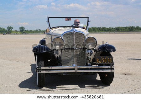 BROOKLYN, NEW YORK - JUNE 8, 2014: Historical 1930 Oakland Convertible at the Antique Automobile Association of Brooklyn annual Spring Car Show in Brooklyn, New York  - stock photo