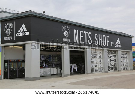 BROOKLYN, NEW YORK - JUNE 4, 2015 : Nets Lifestyle Shop by Adidas at Coney Island in Brooklyn.The Brooklyn Nets are a professional basketball team based in the New York City borough of Brooklyn - stock photo