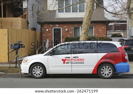 BROOKLYN, NEW YORK - MARCH 21, 2015: Telemundo Channel 47 van in Brooklyn. WNJU, channel 47, is an owned-and-operated station of the Spanish language Telemundo TV network - stock photo