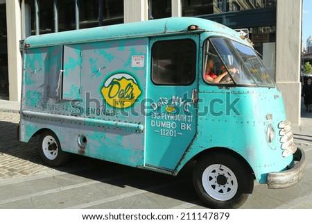 BROOKLYN, NEW YORK - MAY 26: Del's NYC Frozen Lemonade Truck in Brooklyn on May 26, 2013. Del's Lemonade is frozen slush like lemonade located in twenty states - stock photo