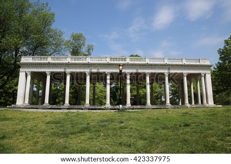 BROOKLYN, NEW YORK - MAY 19, 2016: Grecian Shelter built in 1905 in Brooklyn, NY. It is peristyle with Corinthian columns near the southern edge of Prospect Park in Brooklyn.