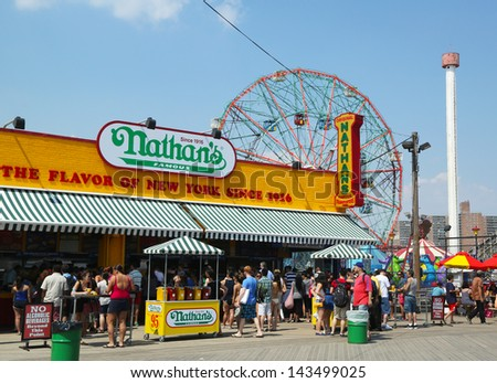 BROOKLYN, NEW YORK - MAY 30:The Nathan s reopened after damage by Hurricane Sandy on May 30, 2013 at Coney Island Boardwalk. The original Nathan's still exists on the same site that it did in 1916