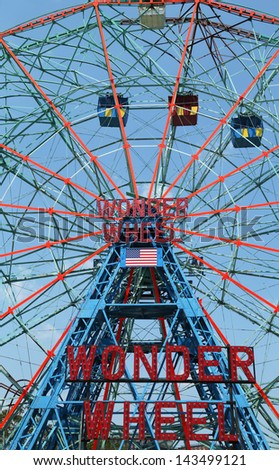 BROOKLYN, NEW YORK - MAY 30 :Wonder Wheel at the Coney Island amusement park on May 30, 2013. Deno's Wonder Wheel a hundred and fifty foot eccentric Ferris wheel. This wheel was built in 1920 - stock photo