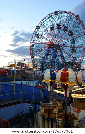BROOKLYN, NEW YORK - MAY 31 :Wonder Wheel at the Coney Island amusement park on May 31, 2014. Deno's Wonder Wheel a hundred and fifty foot eccentric Ferris wheel. This wheel was built in 1920  - stock photo