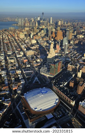 Brooklyn, New York - November. 22. 2012: Aerial view of Barclay Center, multi-purpose arena, home of Brooklyn Nets Basketball team and future home to NY Islanders. Brooklyn, New York - stock photo