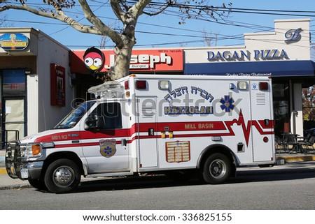BROOKLYN, NEW YORK - NOVEMBER 8, 2015: Hatzolah volunteer ambulance in Mill Basin, Brooklyn. Hatzolah is a volunteer EMS organization serving mostly Jewish communities around the world - stock photo