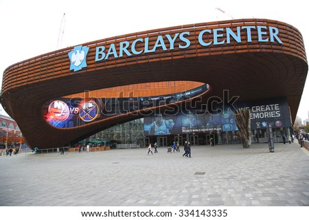 BROOKLYN, NEW YORK - NOVEMBER 1, 2015: Sport arena Barclays center in Brooklyn, New York. Barclays Center with 18,000 seats serves as the home of the NBA's Brooklyn Nets and NHL's New York Islanders - stock photo