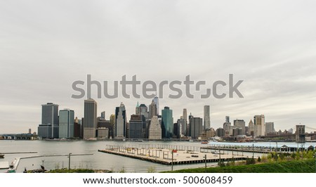 Brooklyn, New York, United States - June 2, 2016. View of the Manhattan skyline from Brooklyn Heights in Brooklyn, New York.