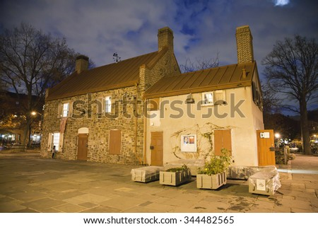 BROOKLYN, NEW YORK, USA - NOVEMBER 22: The  Old Stone House Museum, location of the American Revolution battle of Brooklyn and once clubhouse for the Superbas.  Taken November 22, 2015 in NY. - stock photo