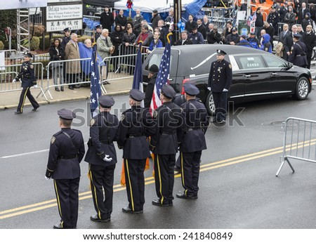 Brooklyn, NY - January 04, 2015: Atmosphere during ceremony at Aievoli Funeral Home for the funeral of slain New York City Police Officer Wenjian Liu