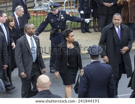 Brooklyn, NY - January 04, 2015: Attorney general nominee Loretta Lynch attends ceremony at Aievoli Funeral Home for the funeral of slain New York City Police Officer Wenjian Liu - stock photo