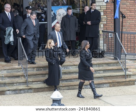 Brooklyn, NY - January 04, 2015: Letitia James and Melissa Mark-Viverito attend ceremony at Aievoli Funeral Home for the funeral of slain New York City Police Officer Wenjian Liu