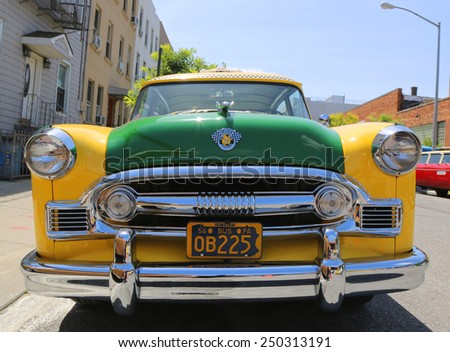 BROOKLYN, NY - JUNE 21, 2014: Checker Marathon Taxi Cab produced by the Checker Motors Corporation in 1956. The Checker remains the most famous taxi cab vehicle in the United States - stock photo